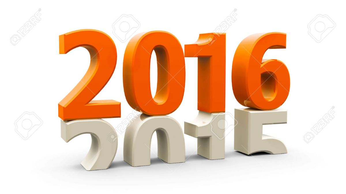 38920341 2015 2016 change represents the new year 2016 three dimensional rendering Stock Photo
