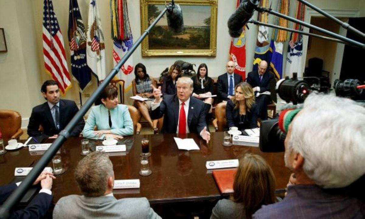 Washington President Donald Trump speaks during a meeting with