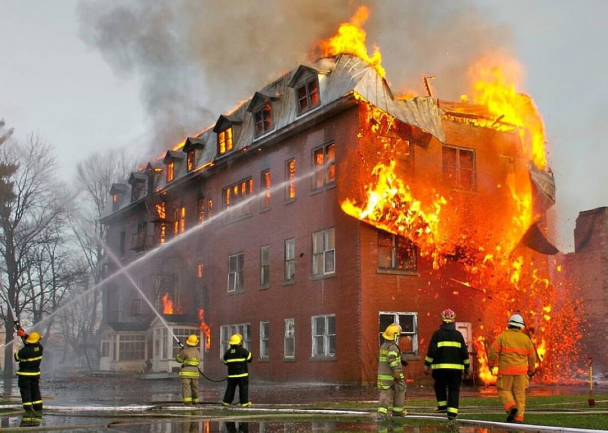 fire inside an abandoned convent in massueville quebec canada