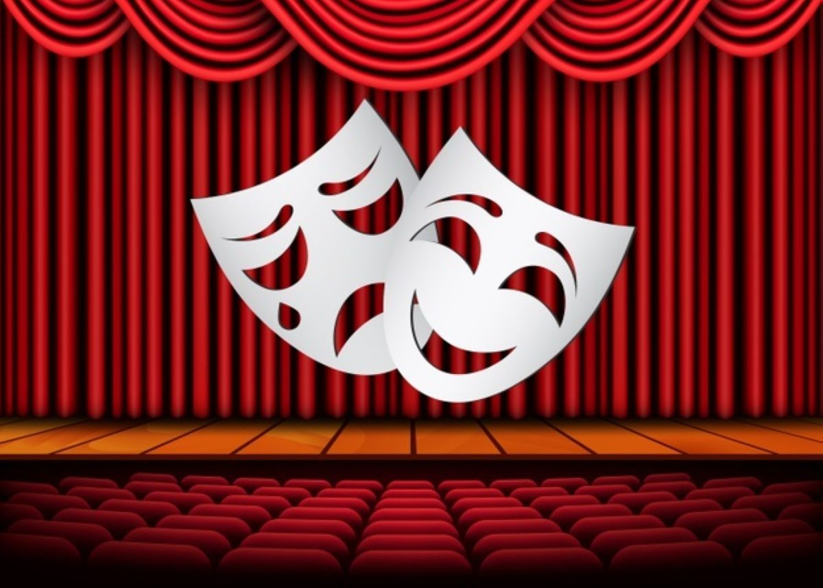 happy sad theater masks theatrical scene with red curtains illustration 302982 44